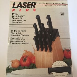 NEW LASER PLUS 15 Piece Knife Block Set